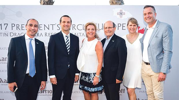 From left: Edward Bonello, Westin Dragonara Resort's director of sales and marketing; Malcolm Jones, Westin Dragonara Resort's finance director; Amy McPherson, Marriott International president and managing director of Europe; Westin Dragonara Resort general manager Michael Kamsky; Belinda Pote, Marriott Europe chief sales and marketing officer; and Le Méridien general manager Alex Incorvaja.