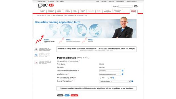 HSBC launches web-based securities trading application