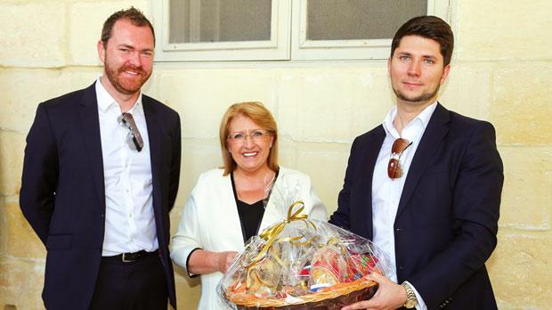 Exante Director Gatis Eglitis (left) and CEO Alexey Kirienko with President Marie-Louise Coleiro Preca.
