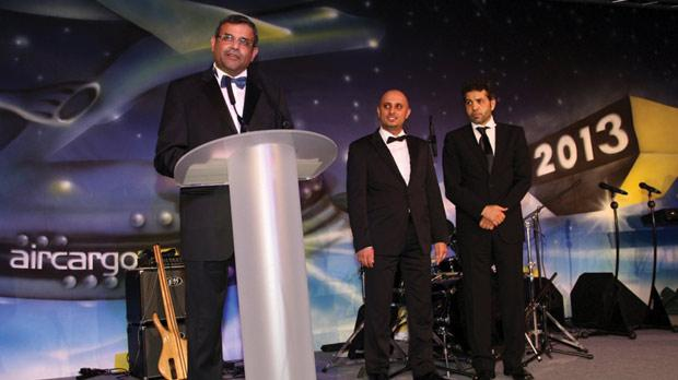 Ram Menen, left, with Ali Angizeh, vice-president, Cargo and Logistics, and Abdulla Mohammed Bin Khediya, head of Cargo Services, from Dubai Airports, sponsor of the Cargo Airline of the Year 2013 category.