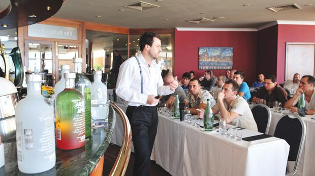 Matthew Pomeroy, global brand Ambassador for Absolut Vodka addressing one of two Absolut master classes organised by Farsons Beverage Imports Company Limited.