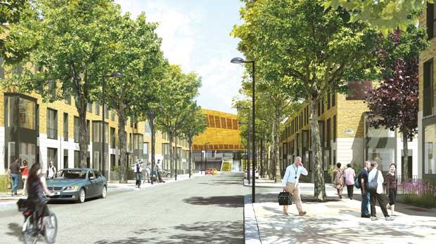 A computer-generated image issued as a planning application that will shape the future of East London. Photo: PA