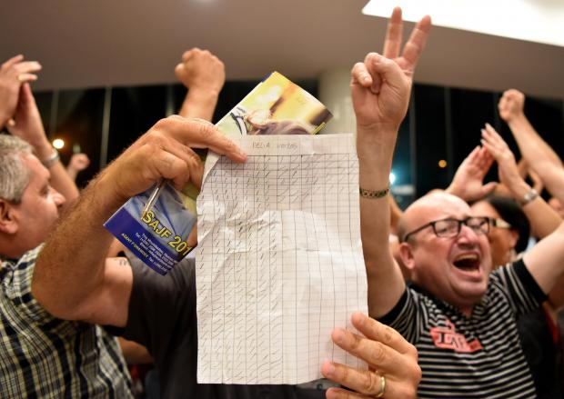 Adrian Delia supporters cheer as the outcome became clear.