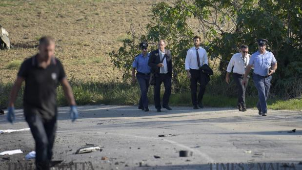 Members of the Caruana Galizia family on the scene of the car bomb on October 16.