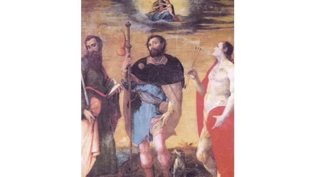 The Three Plague Saints of St Paul, St Rocco and St Sebastian, by Filippo Paladini, hangs in the church's damp chapel of St Catherine.