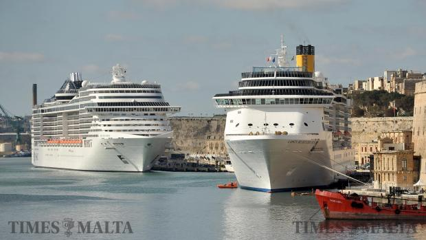 Cruise Liners moored in Grand Harbour on February 22. Photo: Chris Sant Fournier