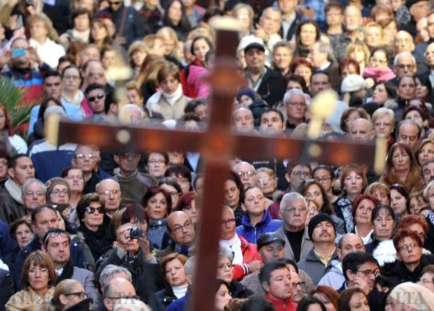 Devout Christians wait anxiously for the Our Lady of Sorrows procession to begin in Valletta on March 18. Photo: Chris Sant Fournier
