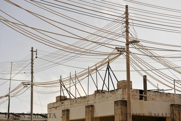 A mass of wires characterise the skyline at the old Trade Fair in Naxxar on April 26. Photo: Chris Sant Fournier