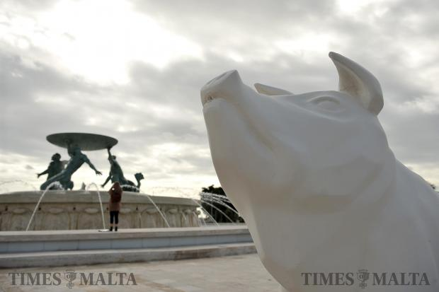 A sculpture of a pig after it was vandalised in Valletta on February 4. Photo: Chris Sant Fournier
