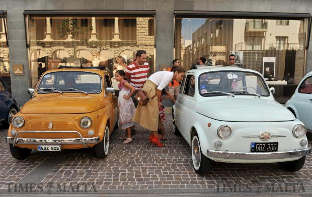 Fiat 500's are displayed at a car show at The Point on September 17. Photo: Chris Sant Fournier