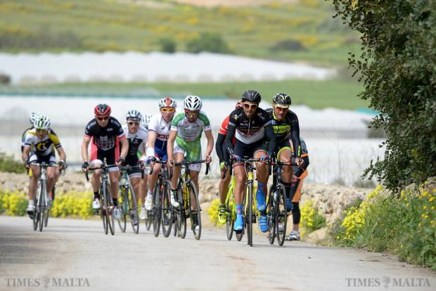 A group of cyclists make their way up San Martin hill, in St Paul's Bay during stage two of the Tour of Malta on March 27. Photo: Matthew Mirabelli