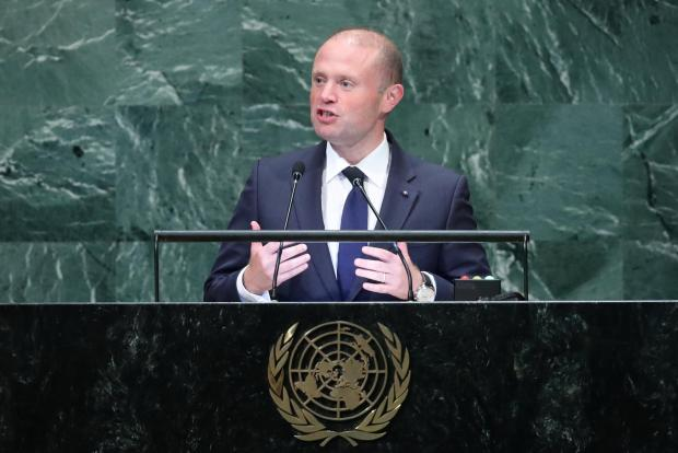 Prime Minister of Malta Joseph Muscat addresses 73rd session of the United Nations General Assembly.