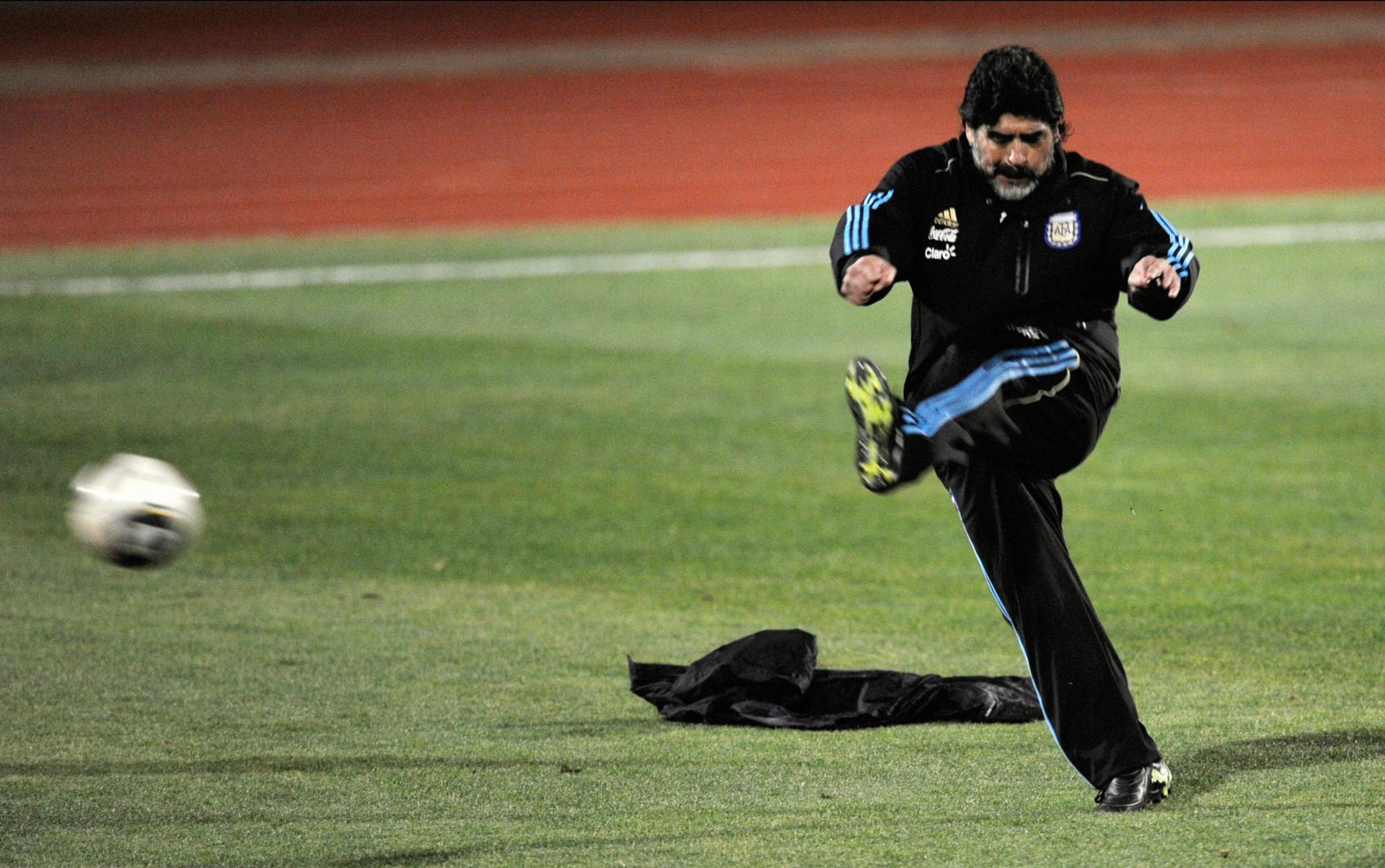 Maradona took to coaching in his later years, though success eluded him. Photo: AFP