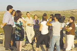 Dr Alfred Sant speaking during a press conference at a spot overlooking Ramla l-Hamra yesterday. Photo: Joe Camenzuli.