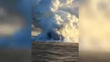 Volcano sends 'lavaberg' floating off to sea