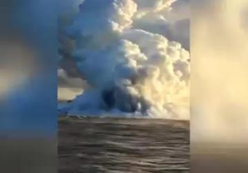 Kilauea sends 'lavaberg' floating off to sea