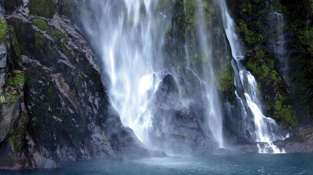 Four-hundred-metre waterfalls at Milford Sound.