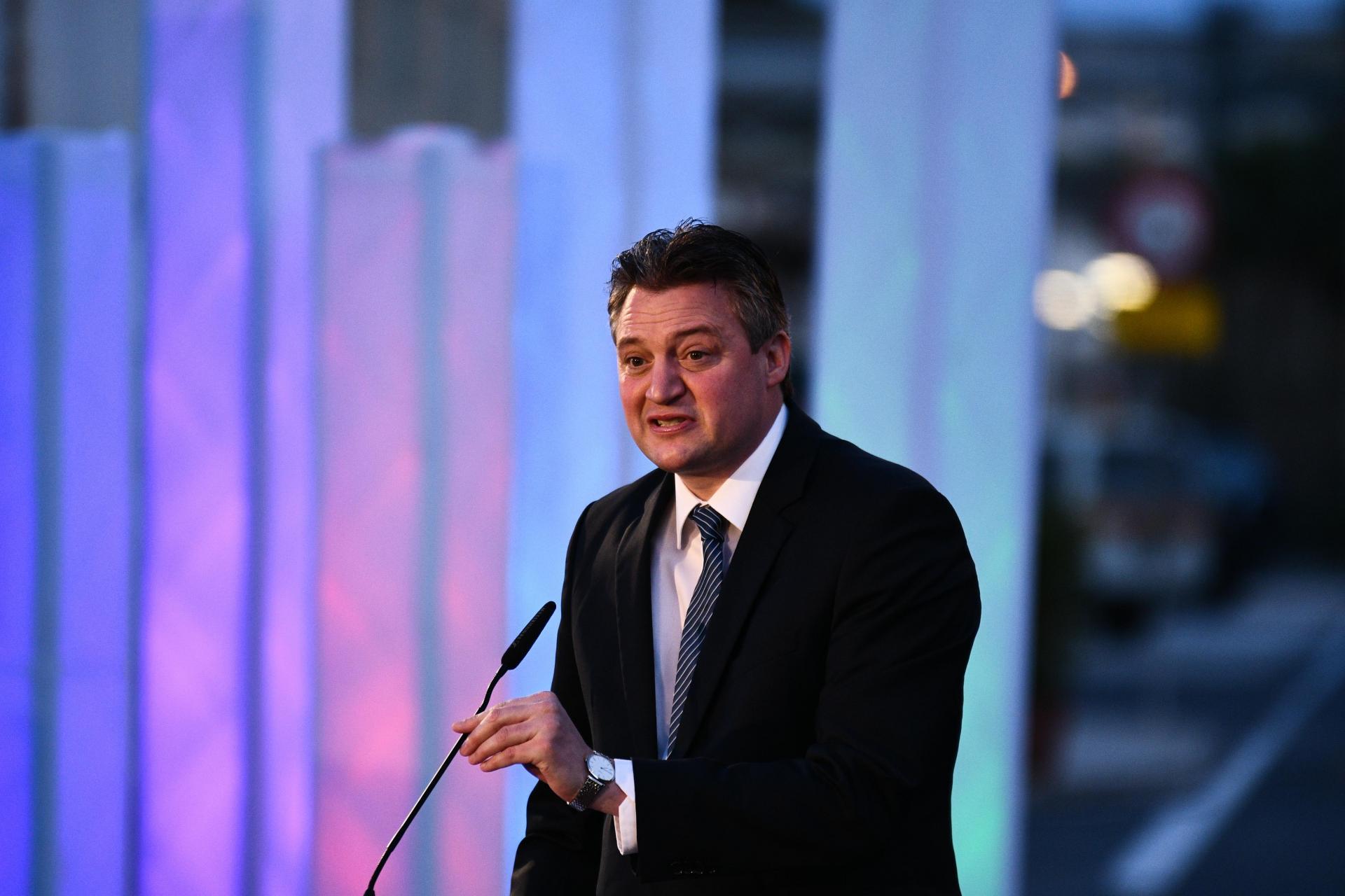 Konrad Mizzi speaking during the inauguration of the Electrogas power station. Photo: Jason Borg/DOI