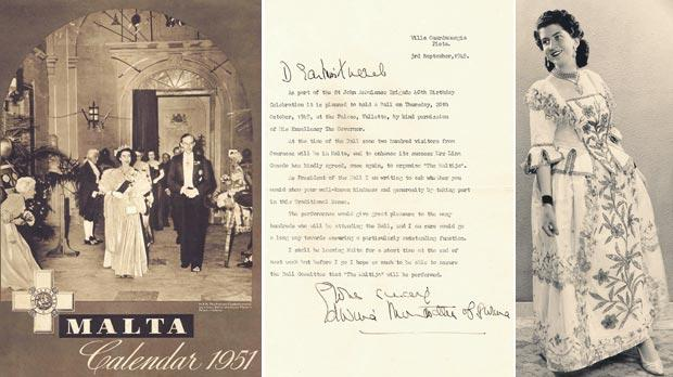 A 1951 calendar (left) showing Princess Elizabeth accompanied by Governor Sir Gerald Creasy entering the Palace for a state ball and Mafine Grech on the far right. A letter (centre) Edwina Mountbatten sent from her residence in Villa Guardamangia, Pieta to Mafine Grech. Photos: Chris Grech