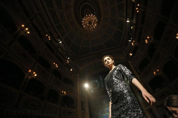 A model presents a creation by Lulu Boutique during the Pink Fashion Show at the Manoel Theatre in Valletta on November 15. Photo: Darrin Zammit Lupi