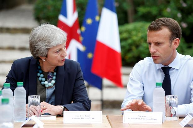 FILE PHOTO: British Prime Minister May and French President Macron meet at Fort de Bregancon.