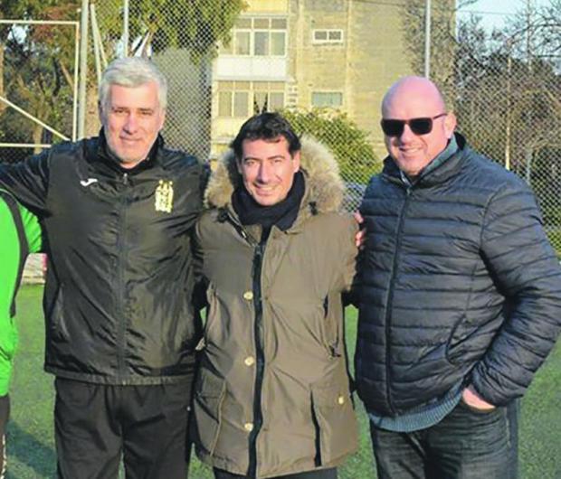 Floriana president Riccardo Gaucci (centre) with new coach Guido Ugolotti and club official Peter Agius.
