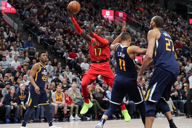 Atlanta Hawks guard Dennis Schroder (17) shoots the ball against the Utah Jazz during the fourth quarter at Vivint Smart Home Arena. Atlanta Hawks won the game 99-96. Photo Credit: Chris Nicoll-USA TODAY Sports