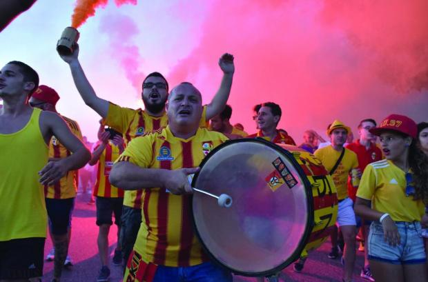 Birkirkara supporters make their way to the National Stadium in Ta' Qali before the UEFA Europa League qualifier against West Ham on July 23. Photo: Mark Zammit Cordina