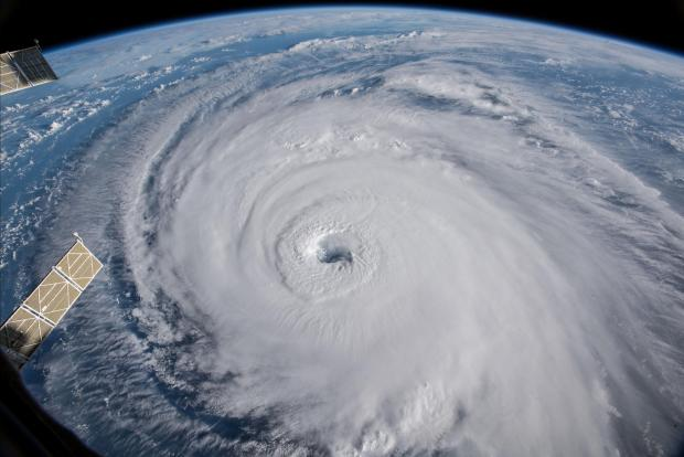 NASA handout photo of a view of Hurricane Florence shown churning in the Atlantic Ocean in a west, north-westerly direction heading for the eastern coastline of the United States.