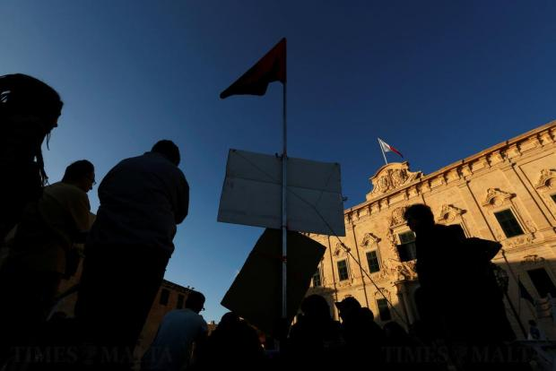 Environmental activists stand in a camp they set up to protest against what they say is over-development throughout the Maltese islands, in front of the Auberge de Castille housing the Office of the Prime Minister in Valletta on May 14. Photo: Darrin Zammit Lupi