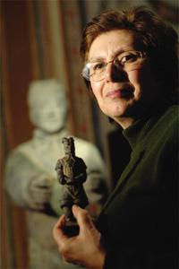 Lina Cuschieri holding a miniature copy of a terracotta soldier she bought in Xi`an, Shaanxi province in China. Story on centre spread Photo: Matthew Mirabelli