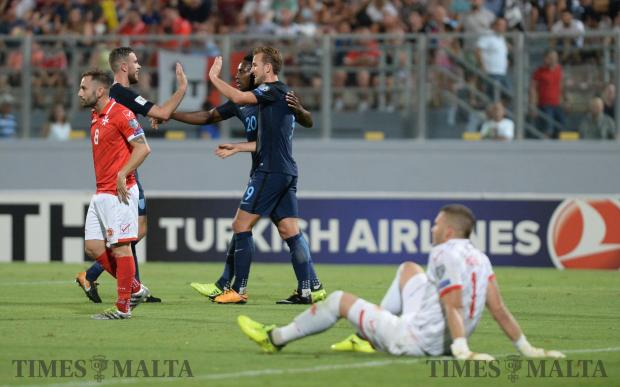 England celebrates a goal during their World cup Qualifying Group F Match against Malta at the National Stadium in Ta'Qali on September 1. Photo: Matthew Mirabelli