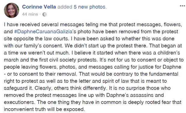 A Facebook post by one of Daphne Caruana Galizia's sisters.
