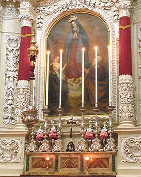 The altar of Our Lady of Guadalupe at Senglea's Porto Salvo church.