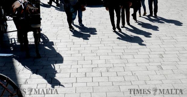 Shadows of tourists and a horse in Mdina on February 7. Photo: Matthew Mirabelli