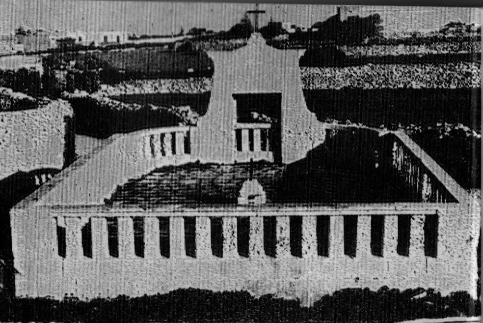 An old photograph of the cemetery shows how the portico once looked