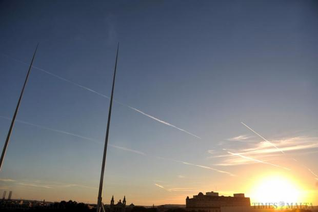 Aircraft contrails above Valletta on October 12. Photo: Chris Sant Fournier