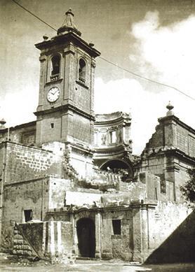 The Mqabba parish church in ruins.