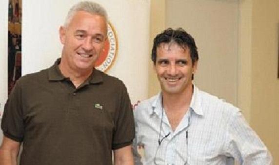 Malta coach John Buttigieg and Carmel Busuttil.