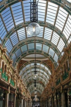 A Victorian shopping arcade in post-industrial Leeds.