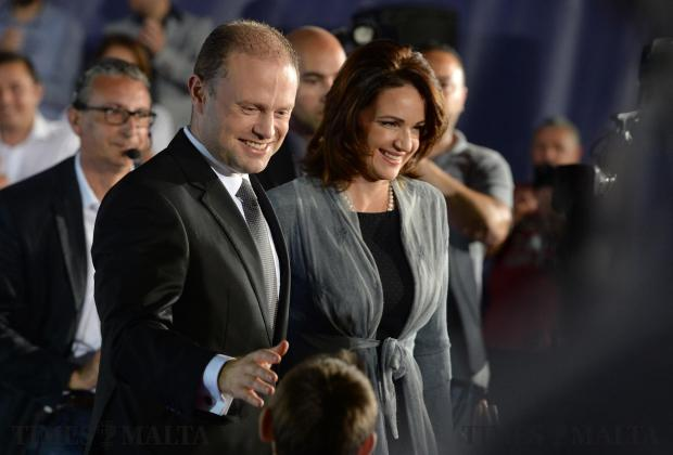 Prime Minister Joseph Muscat and his wife Michelle leave a television interview in San Gwann on May 5. Photo: Matthew Mirabelli