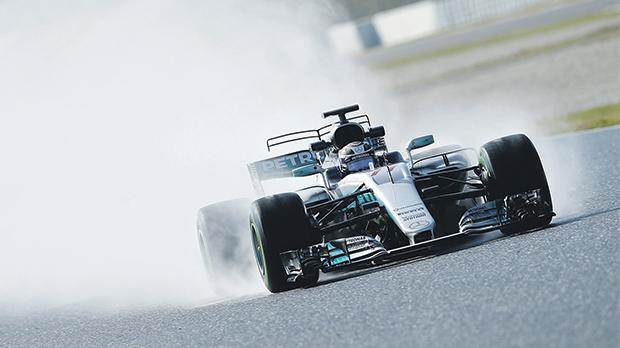 Valtteri Bottas drives his Mercedes at the Circuit de Catalunya, yesterday.