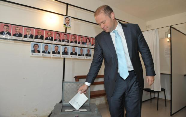 Joseph Muscat casting his vote in 2013.