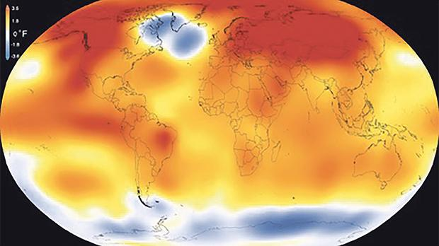 The image above illustrates the Earth's temperatures in 2015 when compared to the 1951-1980 baseline average. Orange colours represent temperatures that are warmer than the baseline average, and blues represent temperatures cooler than the baseline. 2015 was the hottest year on record. Source: NASA