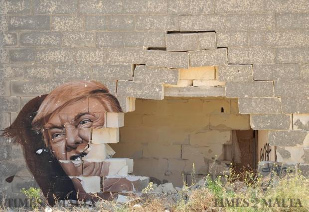 A graffiti art piece of US Presidential hopeful Donald Trump found its way to the derelict White Rocks complex on August 24. Photo: Chris Sant Fournier