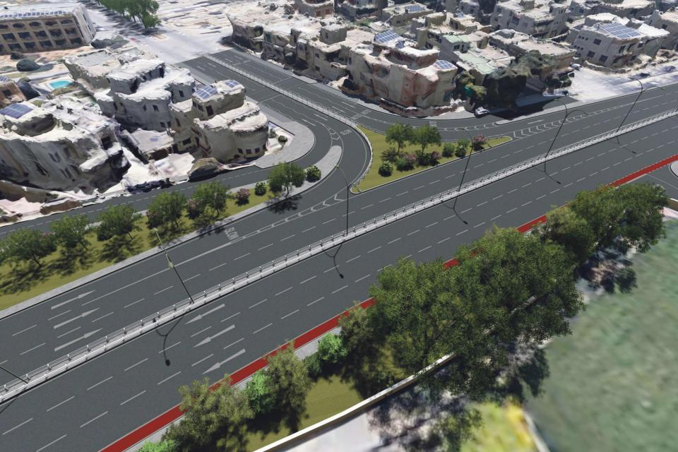 Rendering of part of the Central Link project close to Attard.