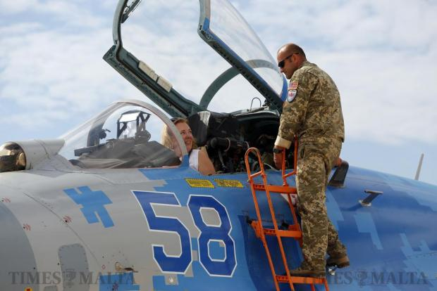 U.S. Ambassador G. Kathleen Hill sits in the cockpit of a Ukraine Air Force Su-27 Flanker fighter aircraft while touring the Malta International Airshow at Malta International Airport on September 24. Photo: Darrin Zammit Lupi