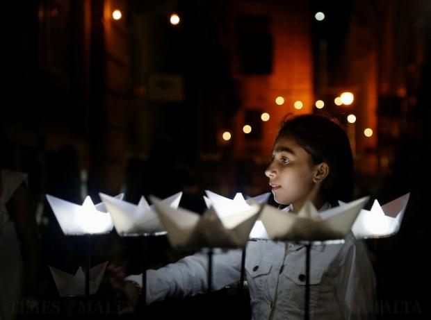 A girl walks through an interactive art installation during Notte Bianca celebrations in Valletta on October 1. Photo: Darrin Zammit Lupi