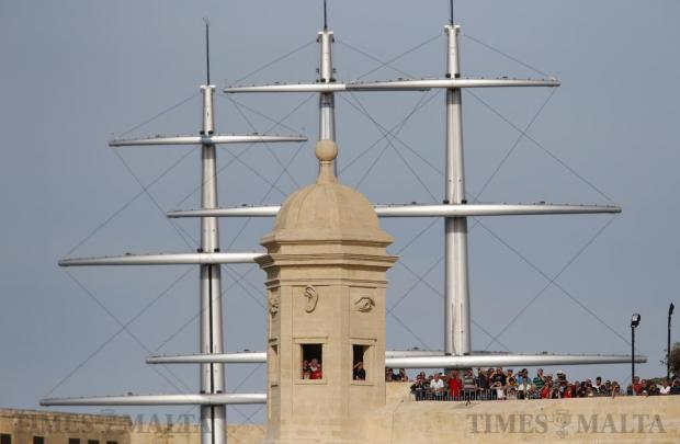 Spectators line the fortifications of Senglea while watching the Freedom Day Regatta in Valletta's Grand Harbour on March 31. Photo: Darrin Zammit Lupi