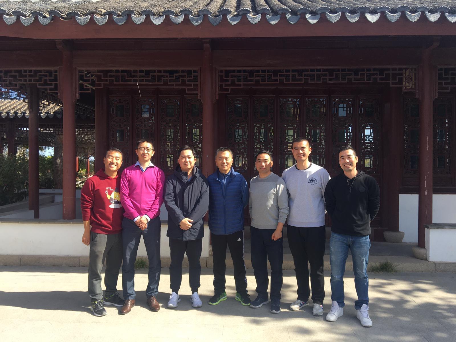 From left to right: Zhang Ming, Zhang Da, Chen Juheng (Vice President), Li Min(Vice President), Li Jianmin(General Secretary), Fang Guanguan, Ma Jian.. of the Chinese Community Association. The community includes around 400 people.